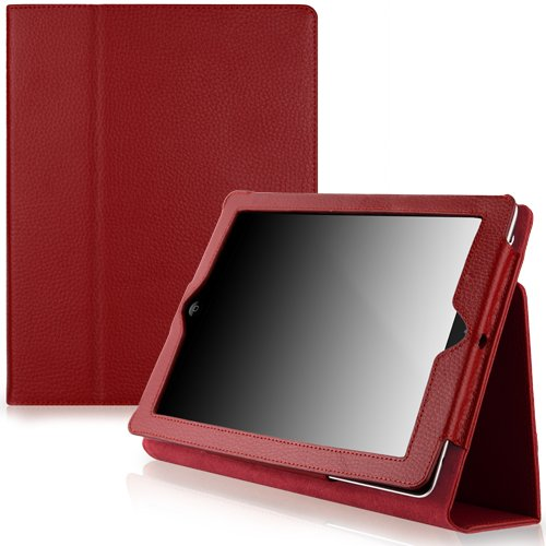 CaseCrown Bold Standby Genuine Leather Case (Red) for iPad 4th Generation with Retina Display, iPad 3 & iPad 2 (Built-in magnet for sleep / wake feature)