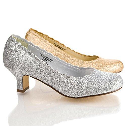 Valciiih Silver Childrens Glitter Round Toe Low Heel Girl Pumps-12 front-224161