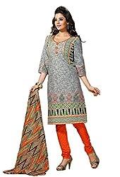 HIFI Ethnicwear Women's Dress Material(HIFI 3409_Grey_Free Size)
