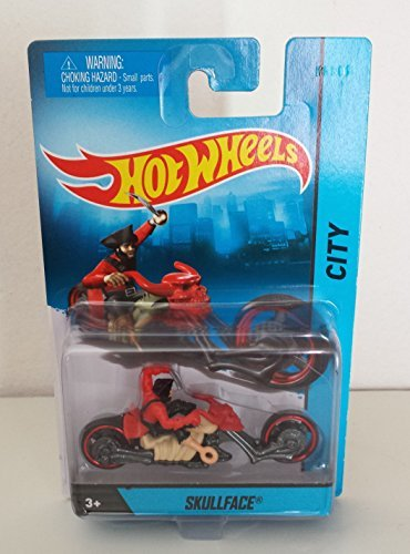 2014 Hot Wheels Hw City Skullface Motorcycle with Rider Die-cast Collectible Die-cast Pirate Motorcycle