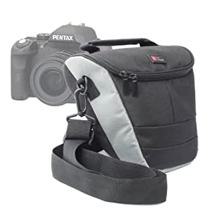 DURAGADGET Top-Loader Carry Case With Shoulder Strap For Pentax X5 Bridge Camera - Silver (16MP, 26x Wide Angle Optical Zoom) 3 inch Tilt LCD, Pentax 645D & Leica S2