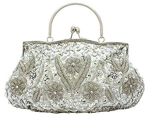 niceeshop(TM) Frauen Blumen Perlen Abend Party Rahmen Kupplung Tasche Geldbörse Handtasche Abendtasche, Silber