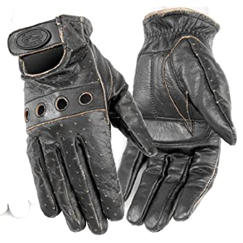 River Road Outlaw Vintage Men's Leather Harley Touring Motorcycle Gloves - Dark Brown / X-Large