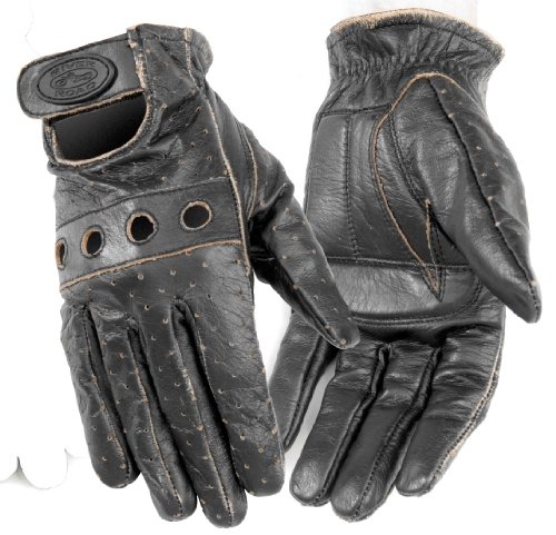 River Road Outlaw Vintage Leather Gloves , Size: Md, Gender: Mens/Unisex, Primary Color: Black, Apparel Material: Leather XF09-1818