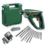 """Bosch Uneo Akku-Bohrhammer """"Easy"""" + 10 tlg. Schrauberbit-Set + 5 Bohrer + 4 Bits + Akku und Ladeger�t + Koffer (14,4 V, max. Bohr-� Beton 10 mm, 1,1 kg)von """"Bosch"""""""