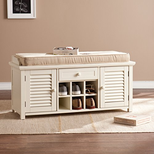 Southern Enterprises Colter Shoe Storage Bench, Antique White (Country Storage Bench compare prices)