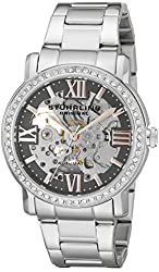 Stuhrling Original Women's 430L.121154 Regent Lady Consul Automatic Skeleton Swarovski Grey Dial Watch