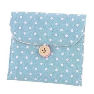 Lady Cotton Blends Polka Dots Sanitary Pad Holder Button Bag Case Light Blue