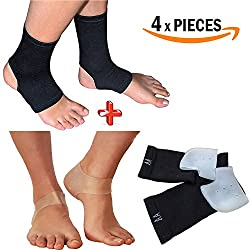 Armstrong Amerika Plantar Fasciitis Sleeve Compression Sock for Sore Foot Pain Relief & Silcon Heel Gel Pads Help Bone Spurs Heel Spur Treatment Bruised Heel Pain Brace Arch Support Feet (Small/Med)
