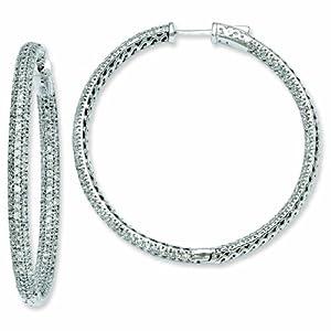 Sterling Silver 2 inch diameter CZ Hoop Earrings