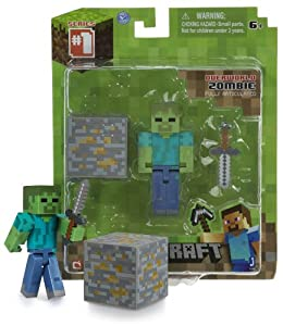 Overworld Zombie 26 Minecraft Mini Fully Articulated Action Figure Pack from Jazwares