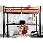 WE Furniture Full Size Metal Loft Bed with Workstation, Back