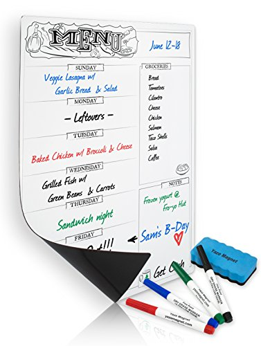 Magnetic Menu Planner For The Refrigerator | A Fun Weekly Meal Planner For Adults & Kids | Keep Everything Organized W/ Our Fridge Magnetic Board | 4 Dry Erase Markers & 1 Magnetic Eraser (Mini Whiteboard For Fridge compare prices)