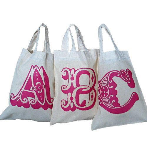 Personalised alphabet gift bags, new A4 size cotton tote bags, for wedding favours, bridal showers and party bags.