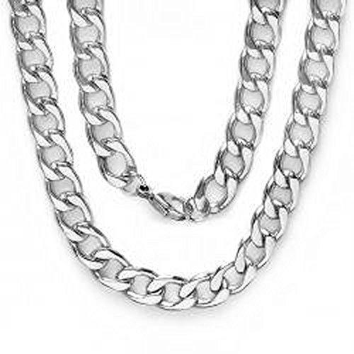 Platinum Plated Mens Cuban Link Hip Hop Necklace (11 MM Width x 36 Inch Length) (Platinum Necklaces For Men compare prices)