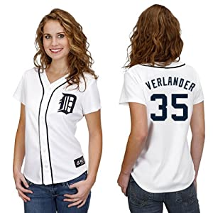 Justin Verlander Detroit Tigers Home Ladies Replica Jersey by Majestic by Majestic