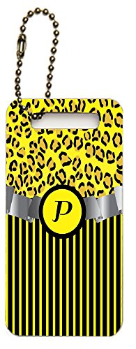 "Rikki Knighttm Letter ""P"" Initial Yellow Leopard Print And Stripes Monogrammed Design Luggage Tags (Set Of 2) front-612174"