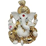 Gold Plated Hindu God Shri Ganesh Car Dashboard Statue Lord Ganesha Idol Bhagwan Ganpati Handicraft Decorative Spiritual Puja Vastu Showpiece Figurine - Religious Pooja Gift Item & Murti For Mandir / Temple / Home Decor / Office / Study Table