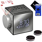 Sony Projector Dual Alarm Clock with Extendable Snooze, 5 Different Nature Sounds, AM/FM Radio, Built-in Calendar, Large LED Display, USB port & Battery Backup (Black) + Sony Replacement Batteries (2 pack) + HeroFiber® Ultra Gentle Cleaning Cloth