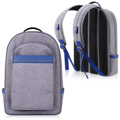 Duzign Harbor Backpack (Gray / Blue) For 13 Or 15 Inch Macbook Pro With Retina Display + Front Pocket For Apple Ipad
