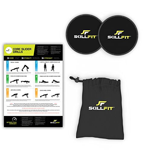 2-Piece Core Balance Gliding Discs Set for Home Gym Exercises and Crossfit Strength Training Workout Includes Carry Bag and Exercise Regimen Poster (Sliding Plates Workout compare prices)