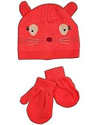 Winter Warm-Up - Baby Girls Hat and Mitten Set, Coral 33788-6-12Months
