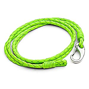 Tribal Steel Neon Green Double Wrap Leather Bracelet for Men with SS Shrimp Clasp of 21cm