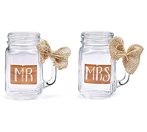 MR & MRS MASON GLASS JAR SET W/ BURLAP BOW (Burlap Jars compare prices)