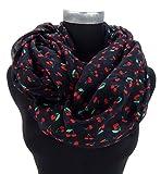 Loop von Ella Jonte Damenschal schwarz rot mit Kirschen Rockabilly
