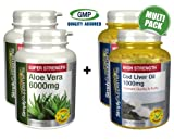 SimplySupplements Aloe Vera 6000mg 120 Tablets + Cod Liver Oil 1000mg 360 Capsules Supports digestive tract
