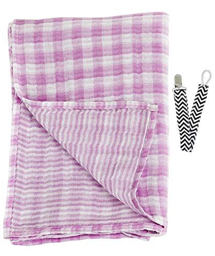 """Lulujo LJ053 Pink Reversible Pattern Muslin Cotton Swaddling Blanket 47""""x47"""" with Pacifier Clip - 1"""