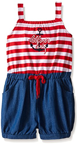 Tommy Hilfiger Big Girls' Yarn Dyed Jersey and Dark Blue Chambray Romper, Red, 3T