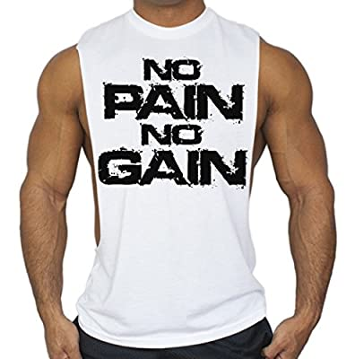 No Pain No Gain Workout T-Shirt Bodybuilding Tank Top White S-3XL