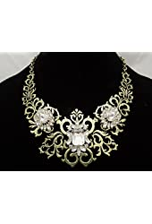 Eye Catching New Retro Style Statement Necklace with Brilliant Crystals