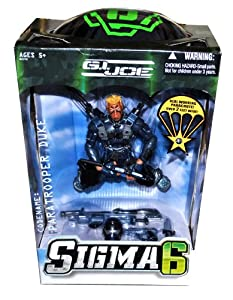 Hasbro Year 2006 G.I. JOE Sigma 6 Series 10 Inch Tall Action Figure - PARATROOPER DUKE with Helmet, 2 Assault Rifles, 2 Pistols, 2 Battke Knife, Hatchet and Real Working Parachute