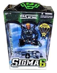 Hasbro Year 2006 G.I. JOE Sigma 6 Series 10 Inch Tall Action Figure - PARATROOPER DUKE with Helmet, 2 Assault Rifles, 2 Pistols, 2 Battke Knife, Hatchet and Real Working Parachute