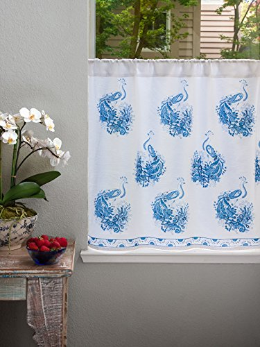 Peacock Tales ~ White Blue French Toile Peacock Kitchen Curtain 44