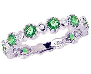14K White Gold Gemstone and Diamond Dainty Three-Quarter Stackable Ring-Emerald, size7.5