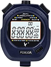 Digital Sport Stopwatch Timer with 3-rows of 30 Memory Time Display Countdown Alarm