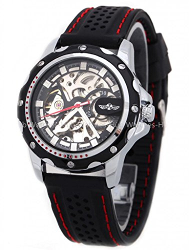 Winner Black Design Skeleton Mens Automatic Mechanical Silicone Band Wrist Watch