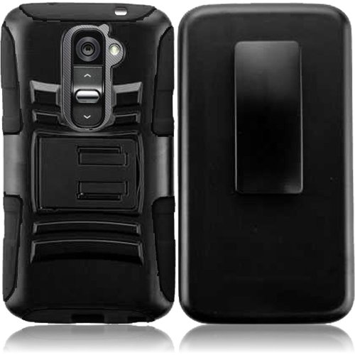 Cell Accessories For Less (Tm) For Lg G2 (All Carriers) Side Stand Cover Case With Holster - Black+Black - By Thetargetbuys front-492280