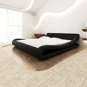 vidaxl kunstlederbett bettgestell bett 140x200 schwarz. Black Bedroom Furniture Sets. Home Design Ideas