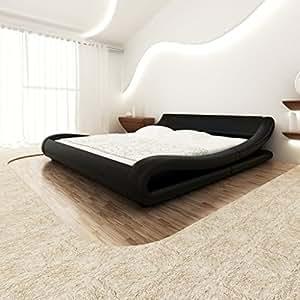 vidaxl kunstlederbett bettgestell bett 140x200 schwarz. Black Bedroom Furniture Sets. Home Design Ideas