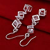 XINTE Whitehead Checkered Earrings Ear Pendant Dangle Fashion Silver Jewelly Elegant Gift for Women Ladies