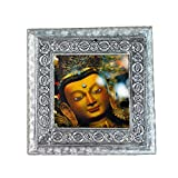 MJR Digital Print Carved White Metal Decorative Dry Fruits Box- The Divine Buddha - 5 x 5 inches.