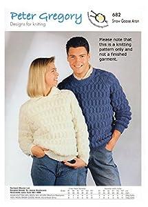 Scarves Knitting Patterns Free : Peter Gregory Aran Knitting Pattern 682 Ladies Mens Jumpers Collar Round Neck...