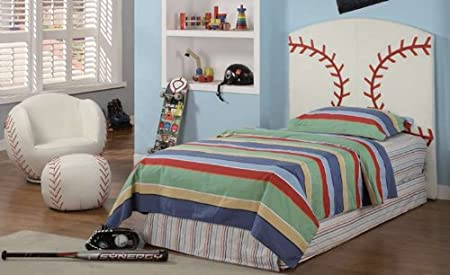 Kids Baseball Twin Size Bed Headboard