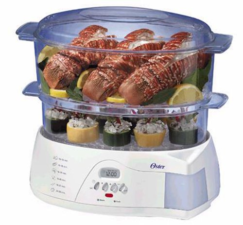 Oster 5712 Electronic 2-Tier 6-Quart Food Steamer, White