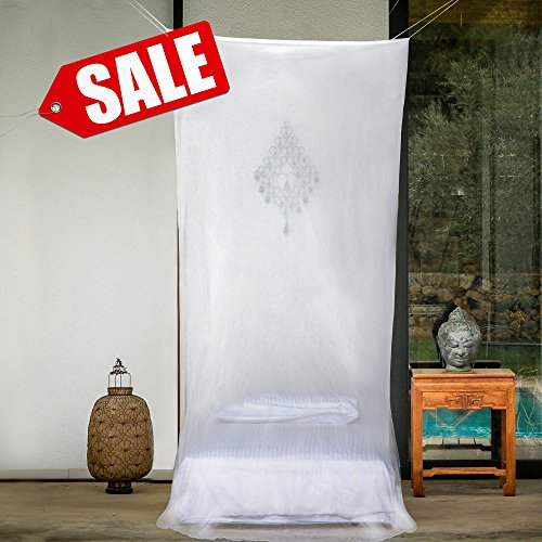 Premium Mosquito Net for Single Bed Canopy by #1 EVEN Naturals | Full Hanging Kit, FREE Gift Bag & eBook |100% Satisfaction Guarantee | Rectangular Insect Protection Shield | Screen Netting Curtain (Natural Net compare prices)