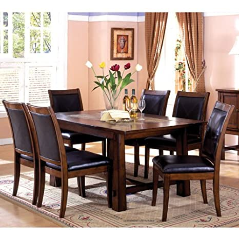 Living Stone Mission Style Marble Inserts Tobacco Oak 5-Piece Dining Room Table Set